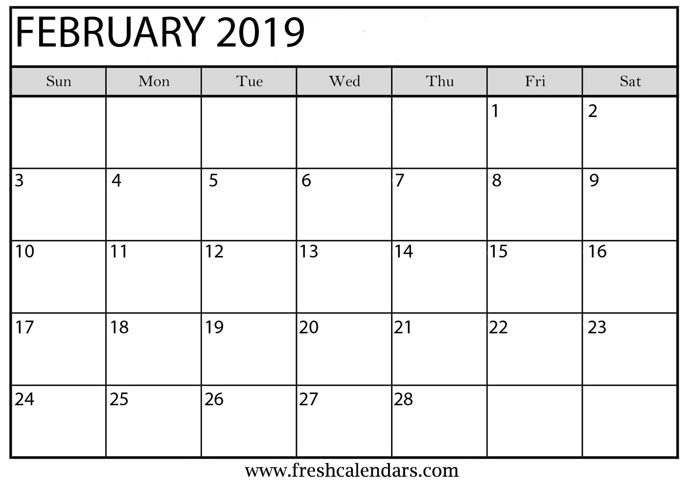 Monthly Calendar Template 2019 February February 2019 Calendar Printable   Fresh Calendars