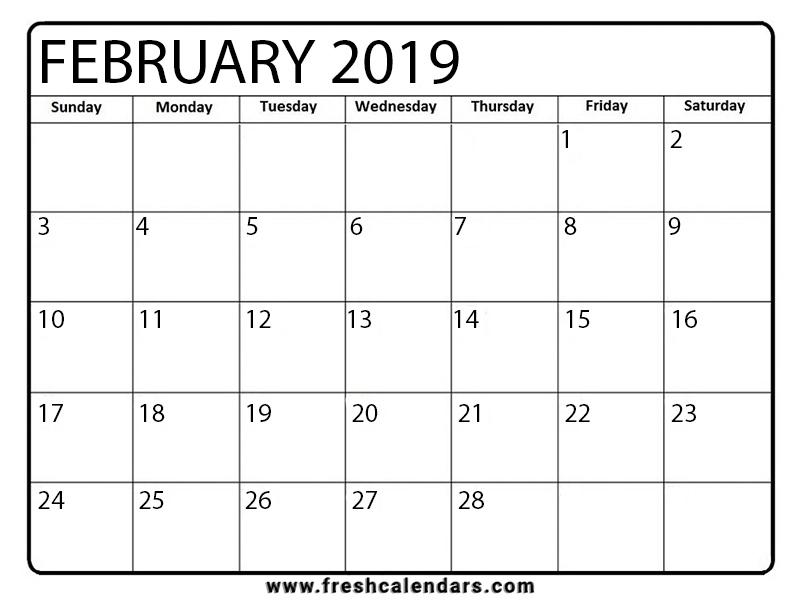 Feb Calendar 2019.February 2019 Calendar Printable Fresh Calendars