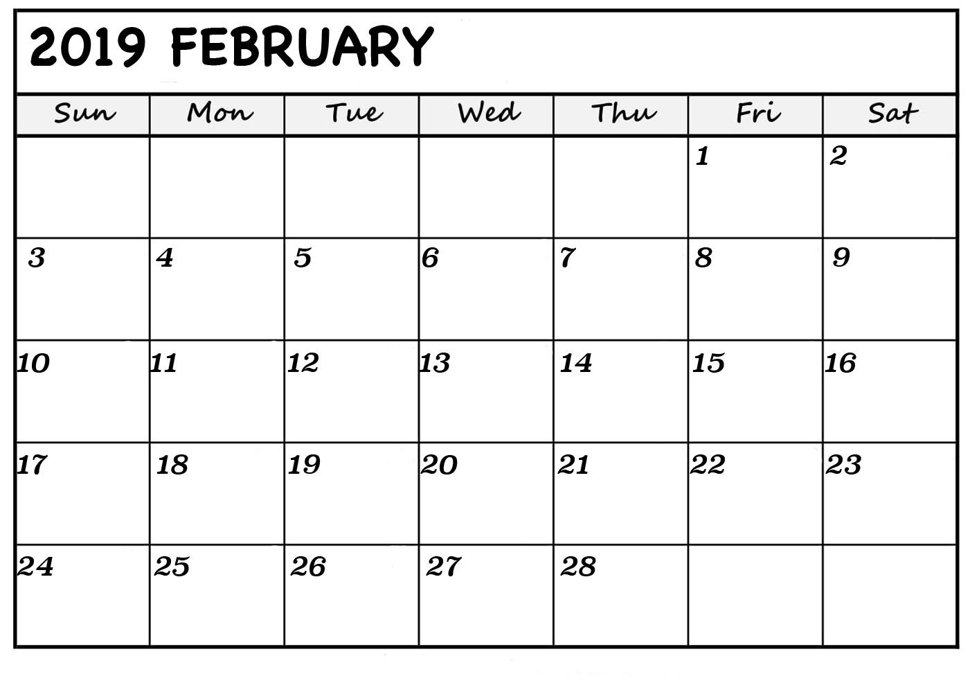 February 2019 Calendar Template Wincalendar February 2019 Calendar Printable   Fresh Calendars
