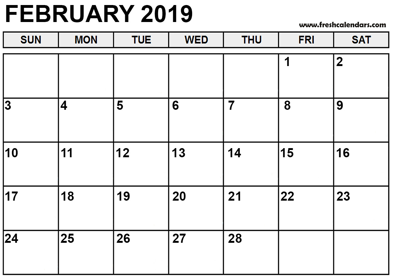 Calendar Feb 2019.February 2019 Calendar Printable Fresh Calendars