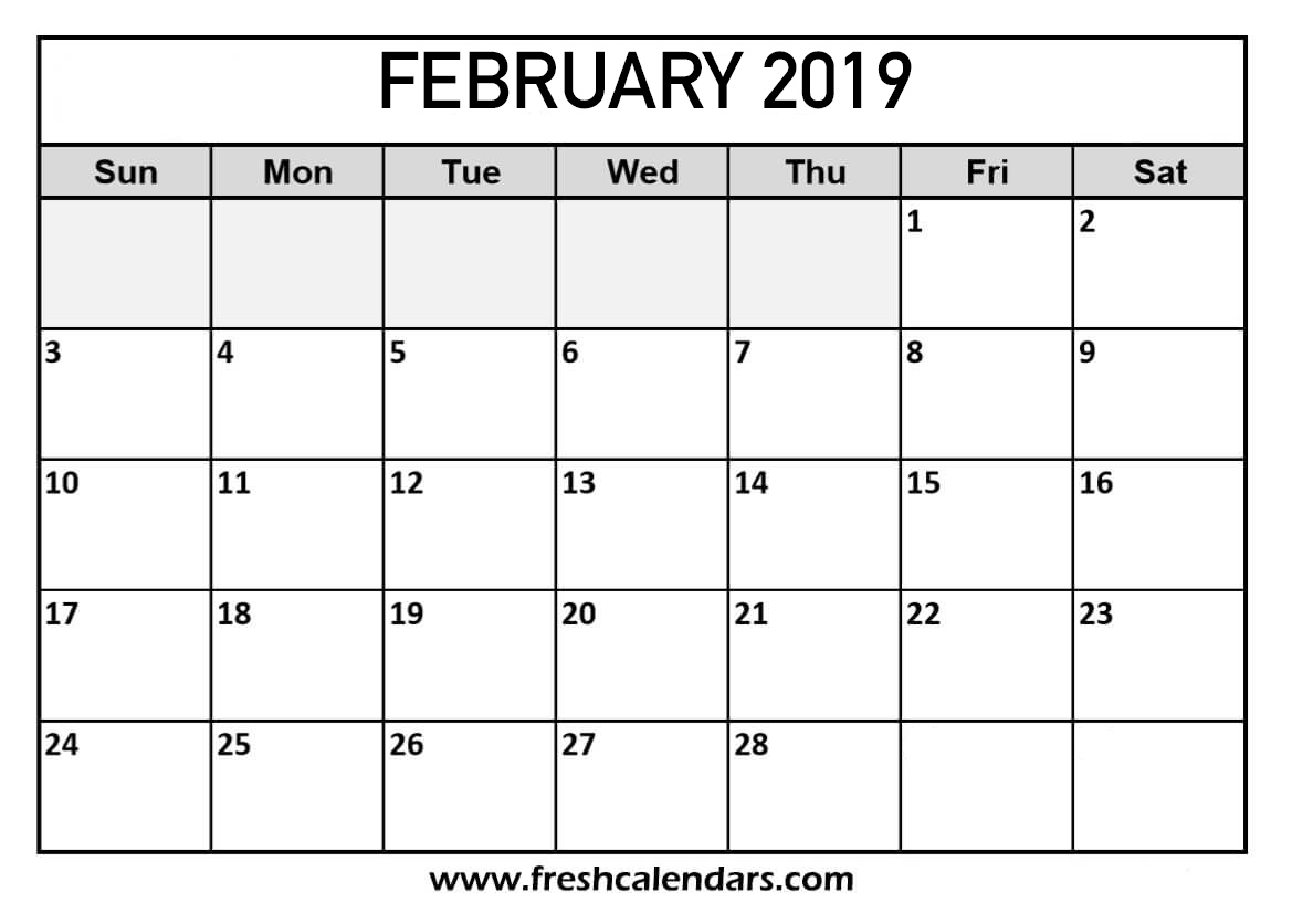 graphic about Printable Feb. Calendar titled February 2019 Calendar Printable - New Calendars