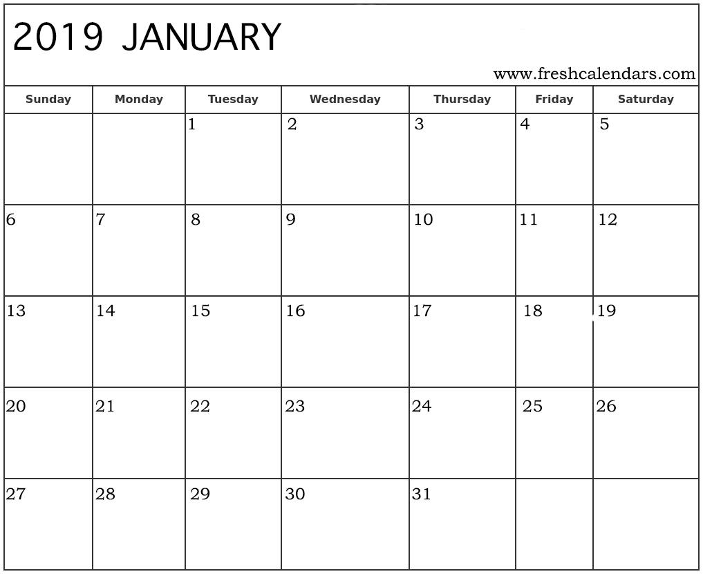 Free Printable 2019 Calendar Freshcalendars