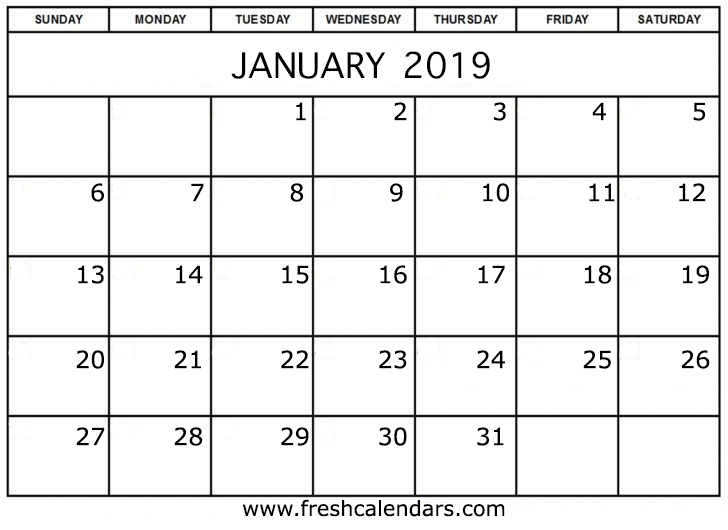 photo regarding January Printable Calender named January 2019 Calendar Printable - New Calendars