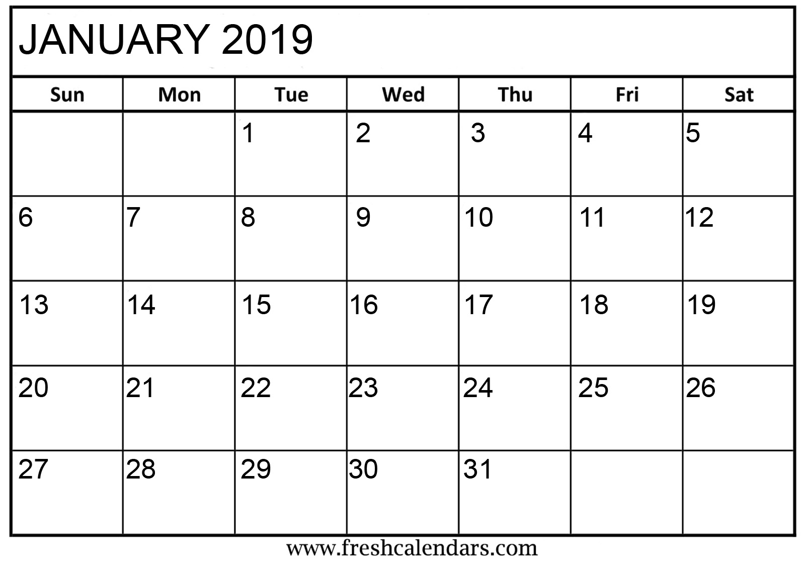 January 2019 Basic Printable Calendar