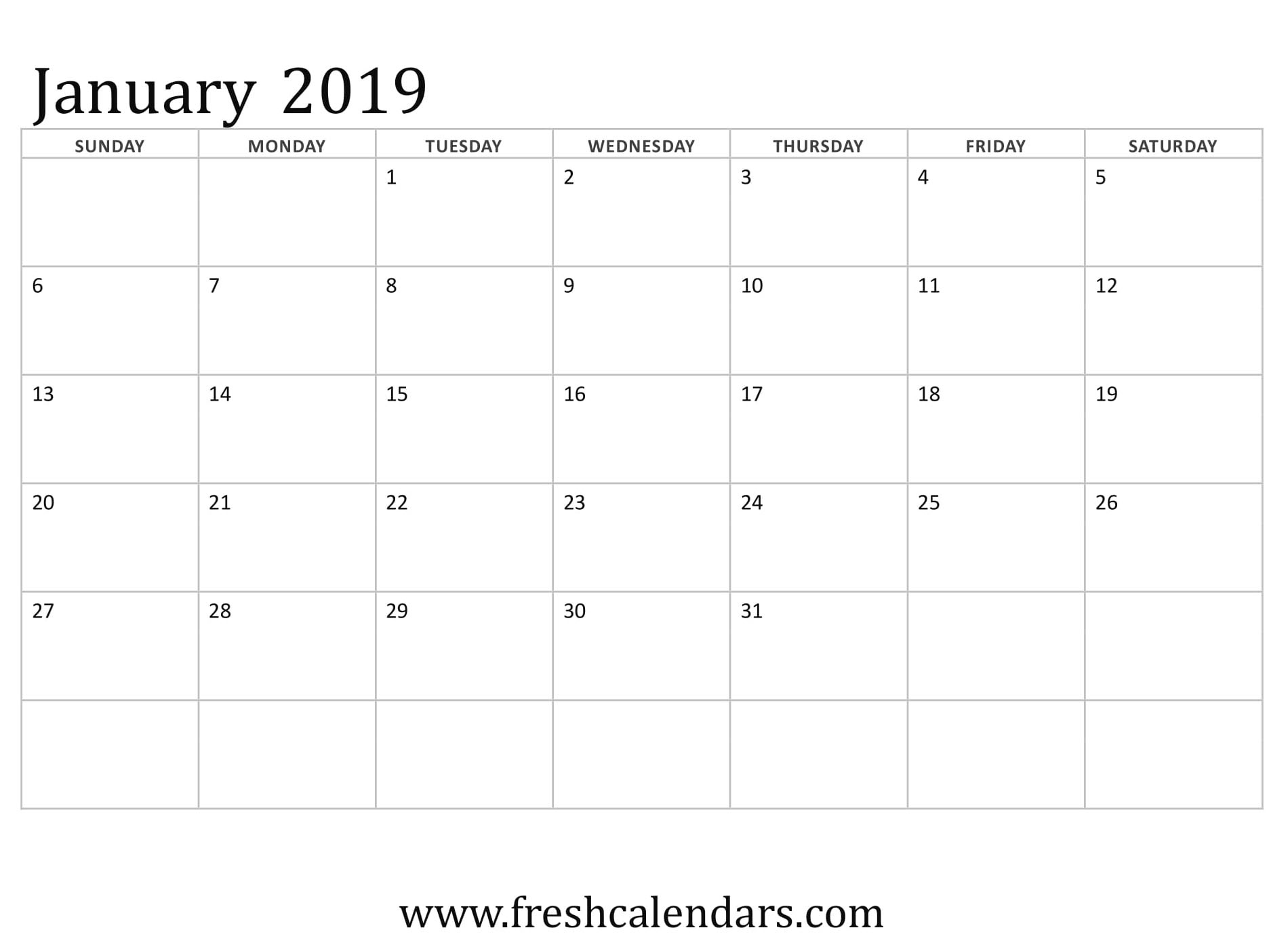 January 2019 Calendar Basic Template