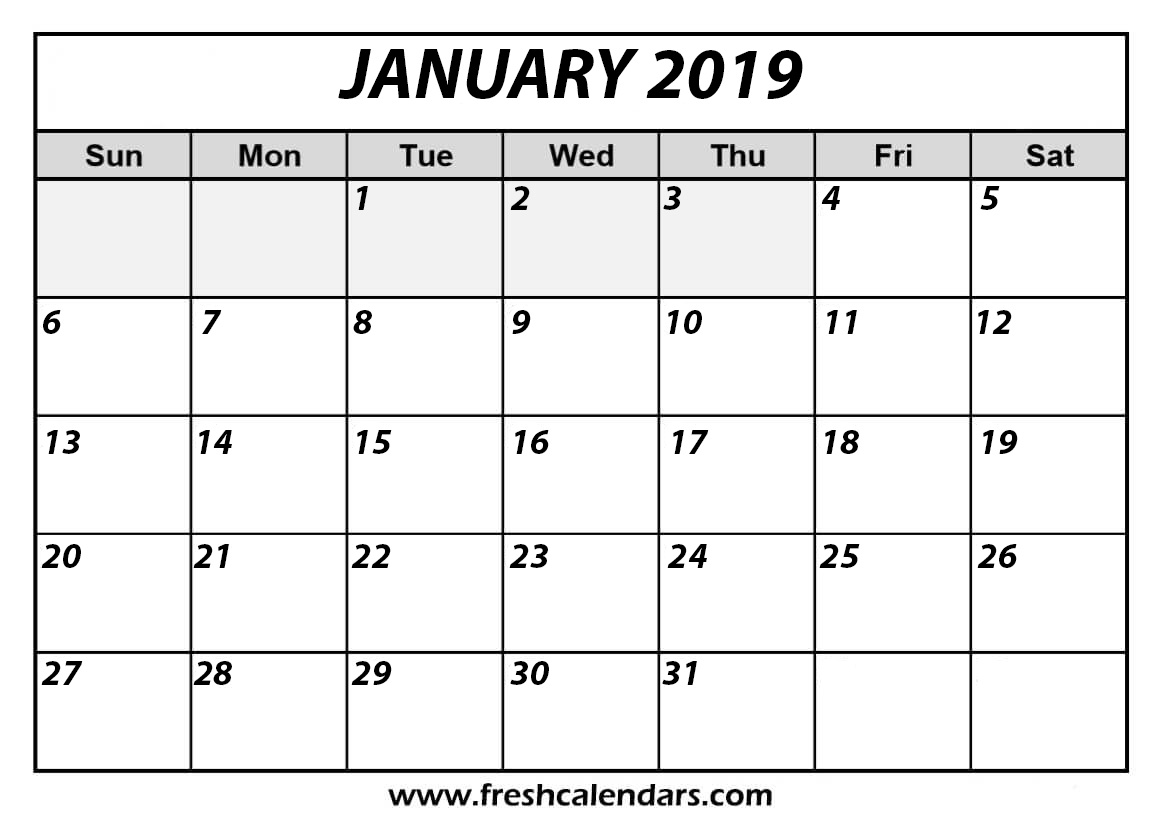 January 2019 Calendar Bold and Italic Template