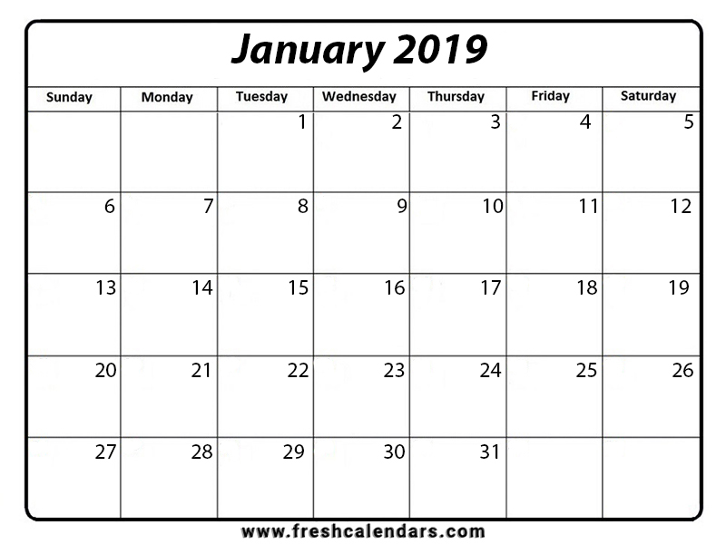 January 2019 Calendar Professional Template