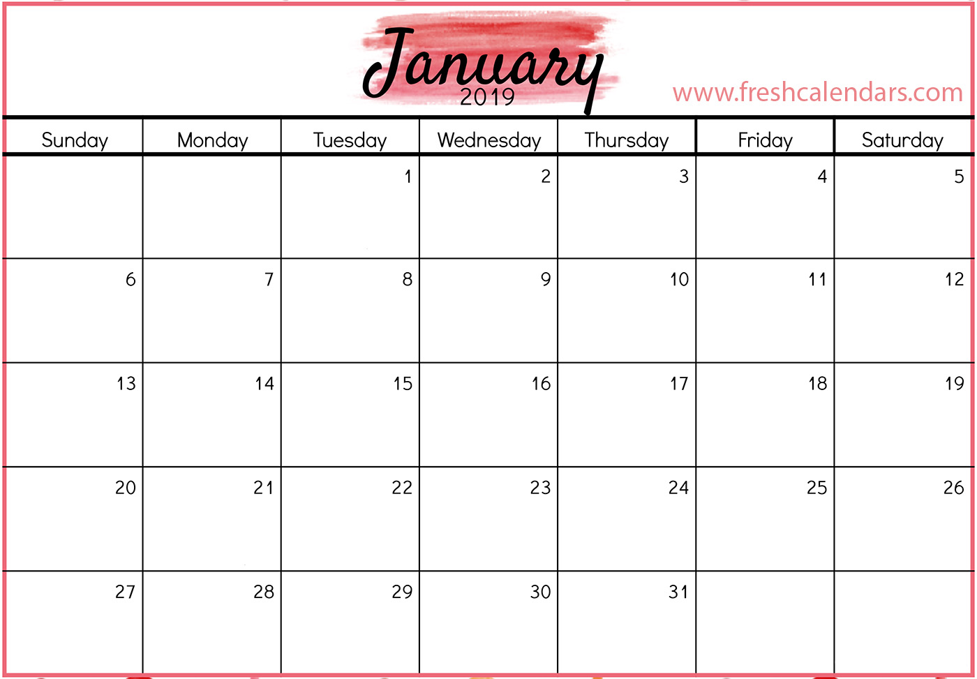 January 2019 Calendar Red Template