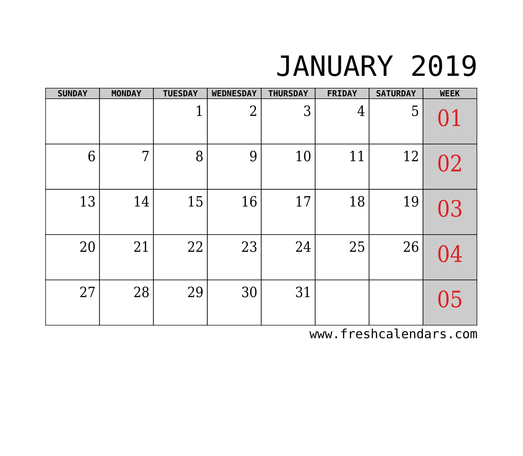 January 2019 Calendar With Week Template Printable