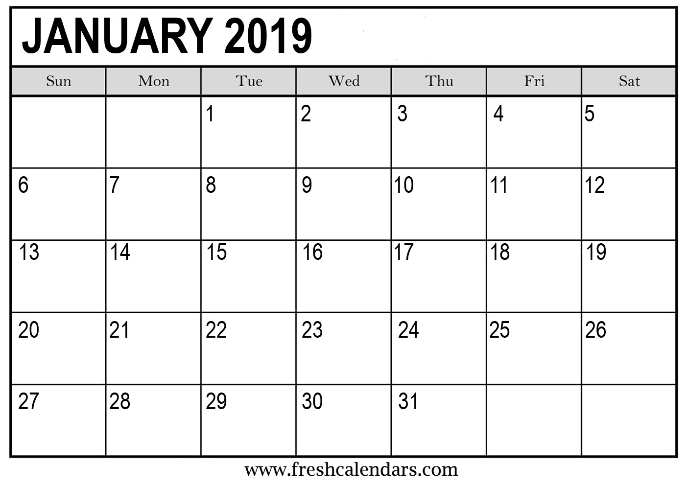 Templates of January 2019 Calendar