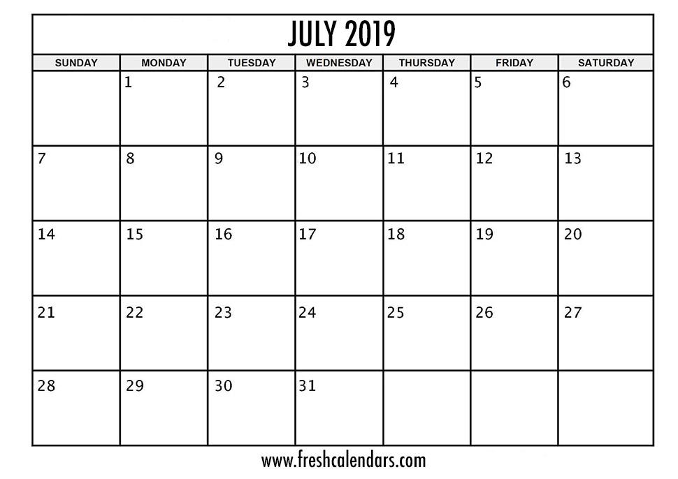 July 2019 Calendar Printable - Fresh Calendars