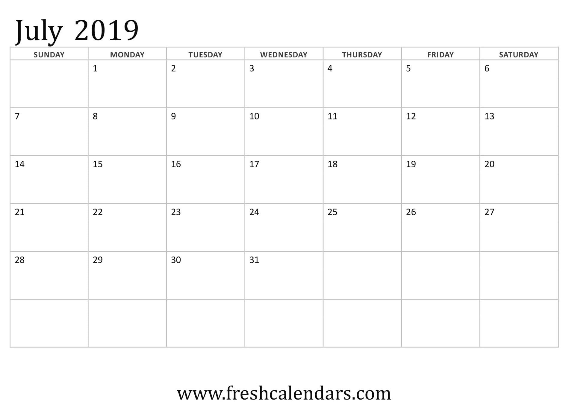 July 2019 Calendar Printable Templates