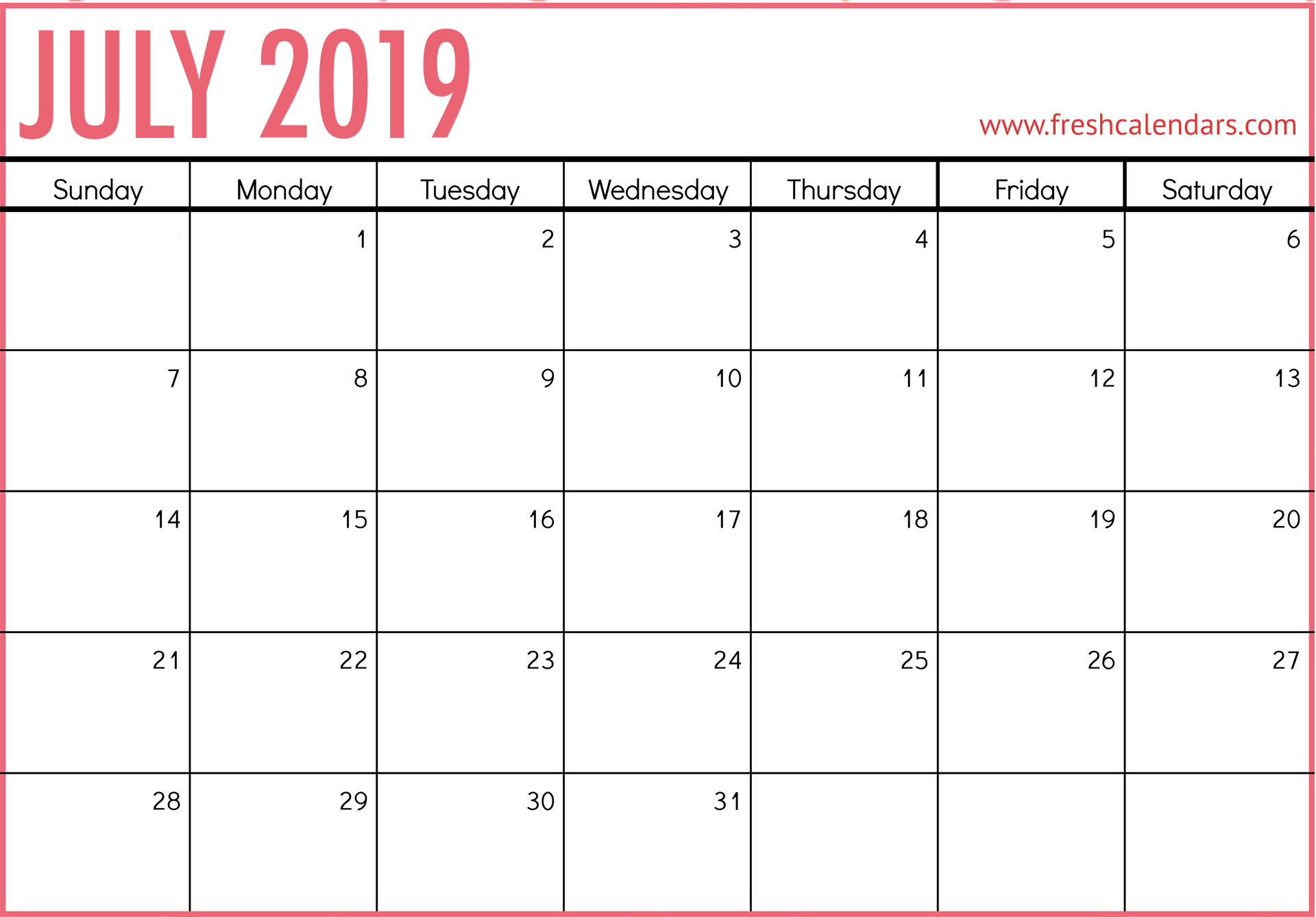 photo about Calendar for July Printable identified as July 2019 Calendar Printable - Fresh new Calendars