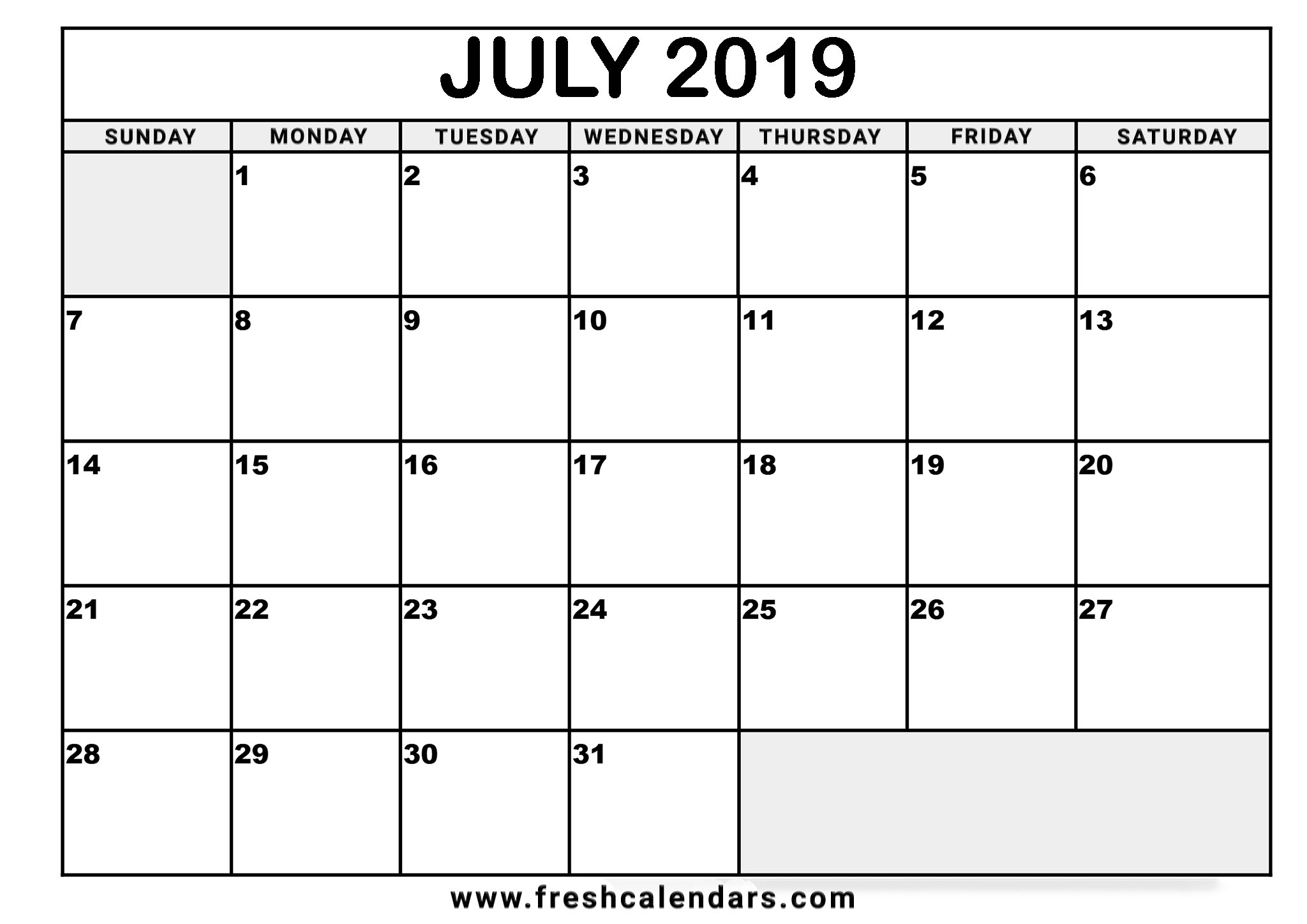 July 2019 Calendar Online Templates