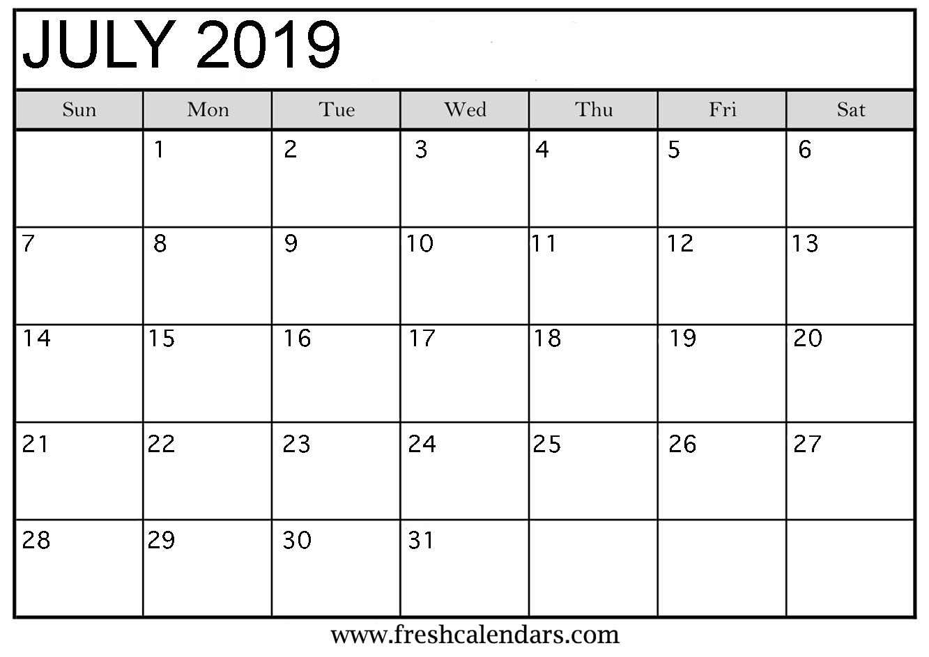 Calendar Template 2019 : July printable calendars fresh