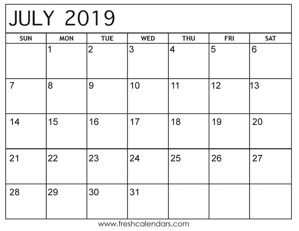 July 2019 Calendar Printable Fresh Calendars