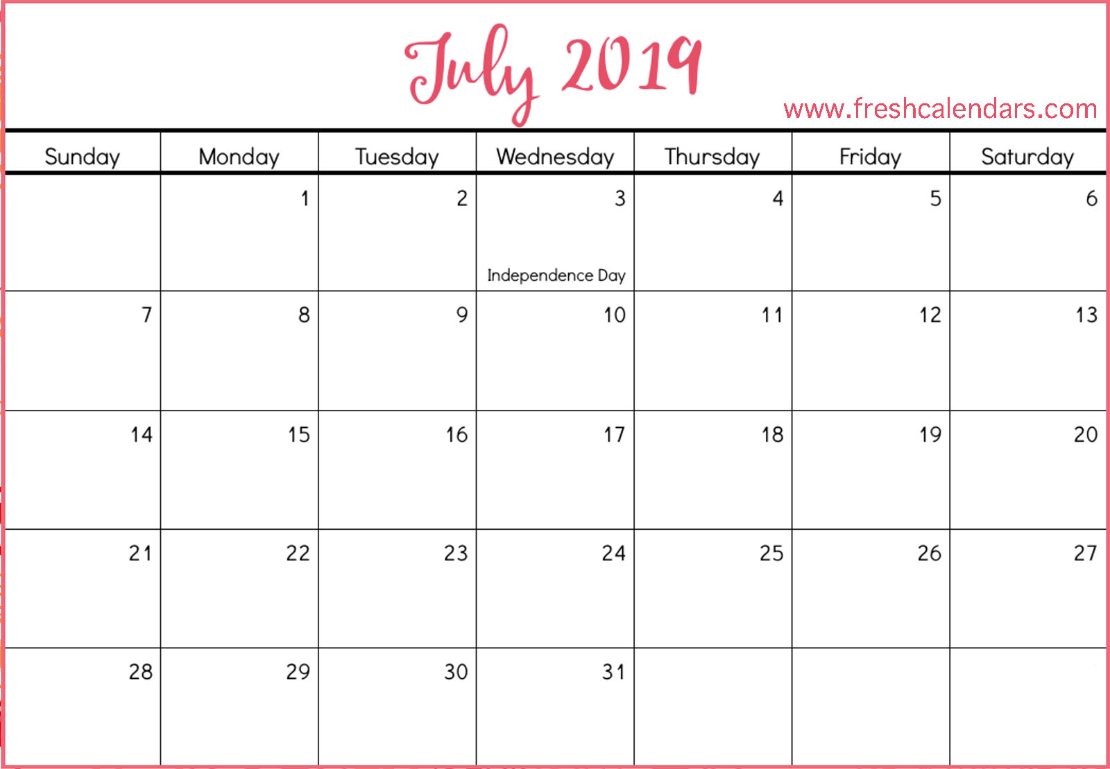 July 2019 Red Template For Free Calendars