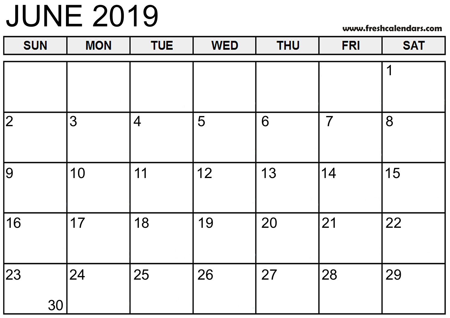 graphic regarding Printable June known as June 2019 Calendar Printable - Refreshing Calendars