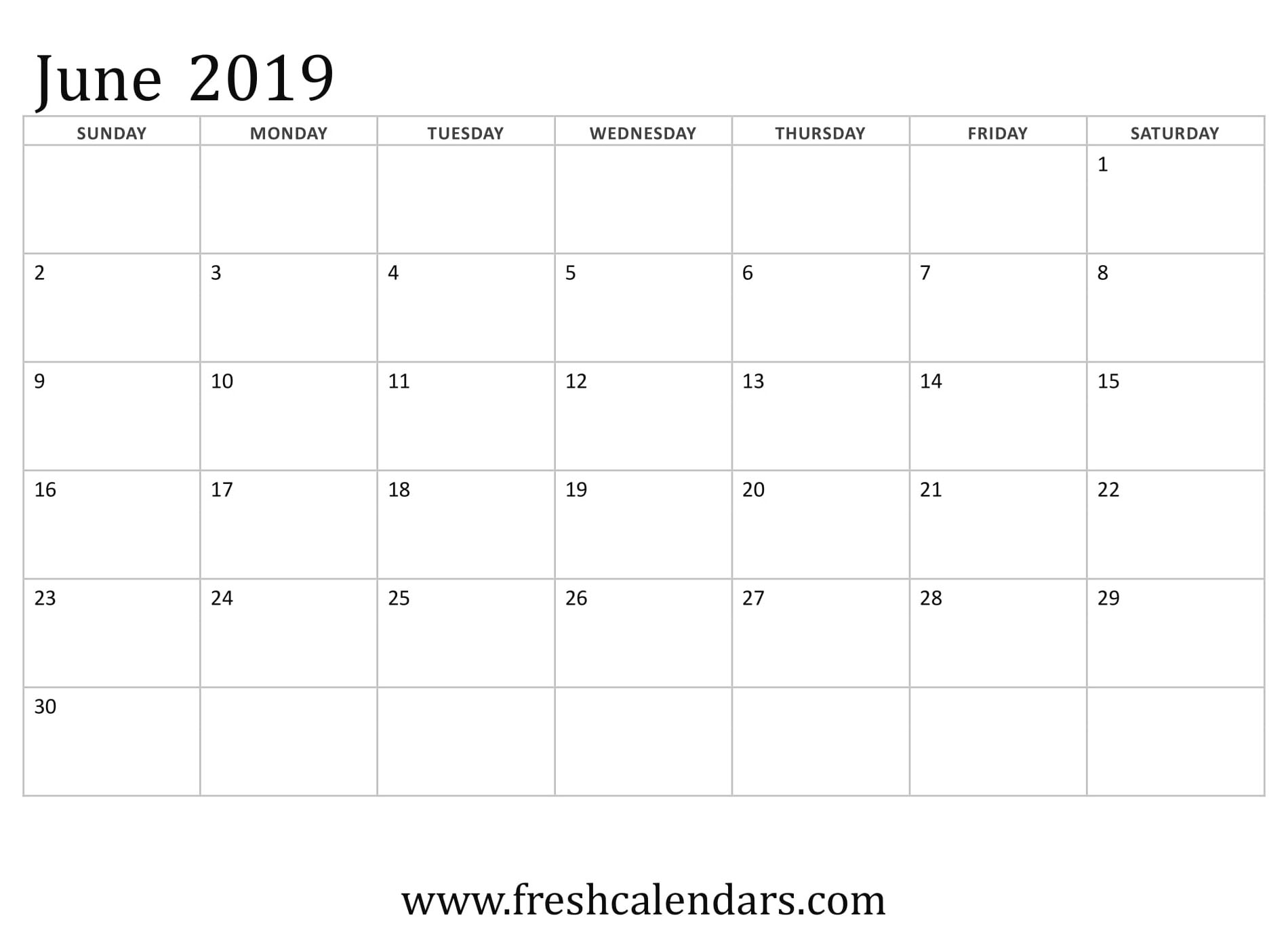 June 2019 Calendar Basic Template