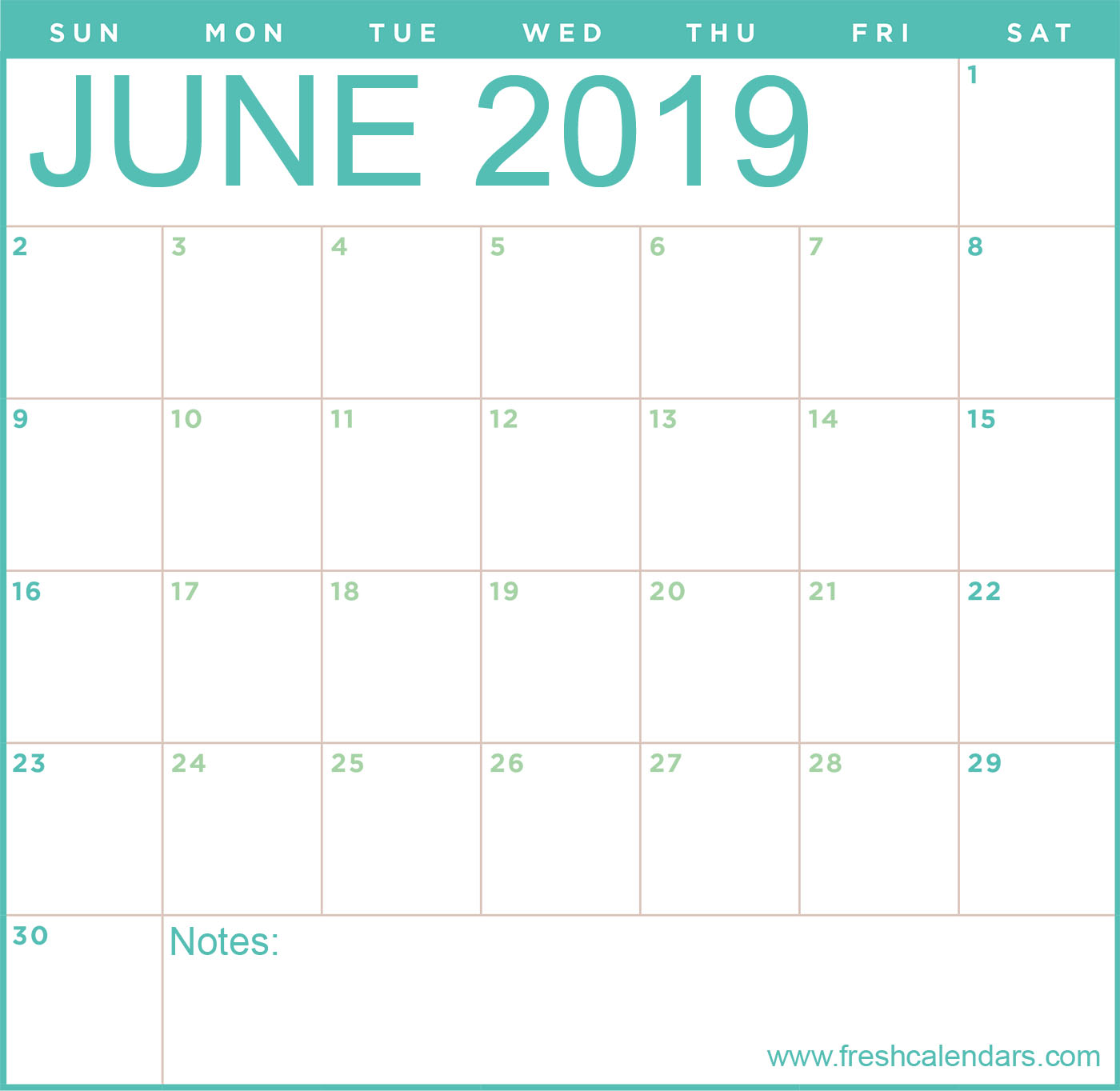 June 2019 Calendar Templates Online