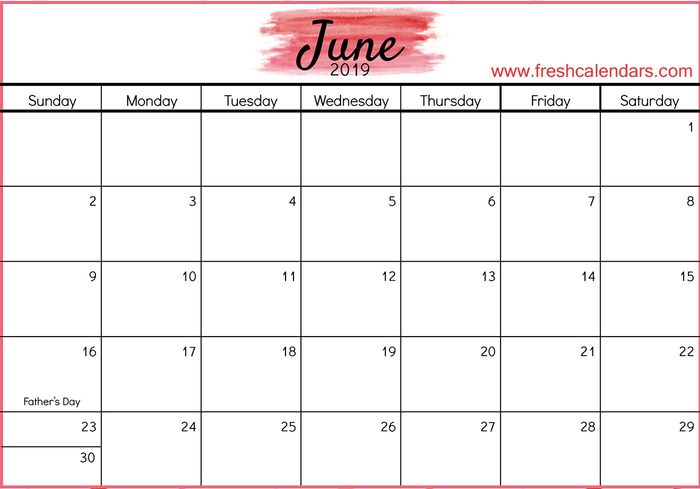 June 2019 Calendar Templates of Red