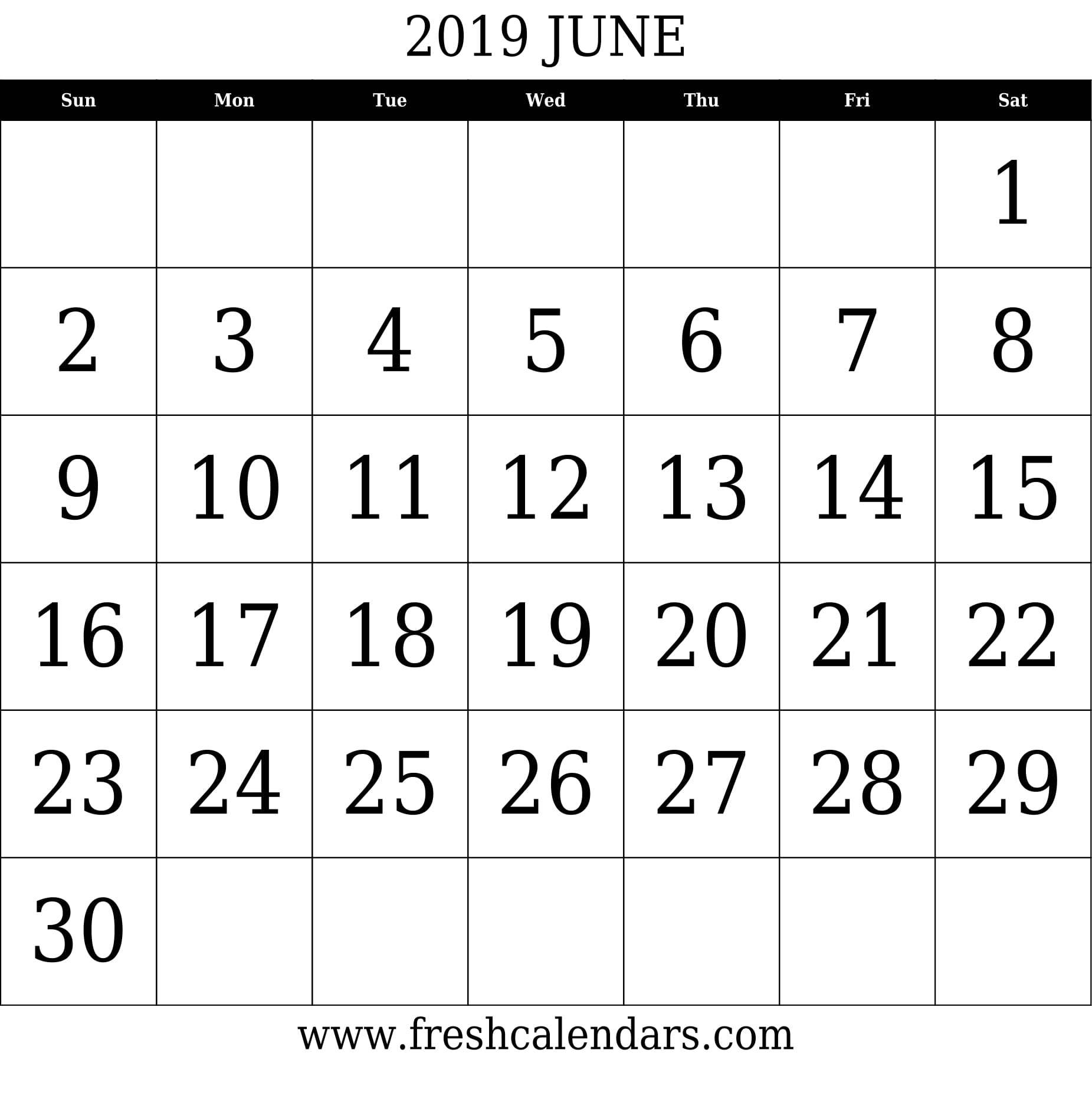 June 2019 Calendar With Large Dates