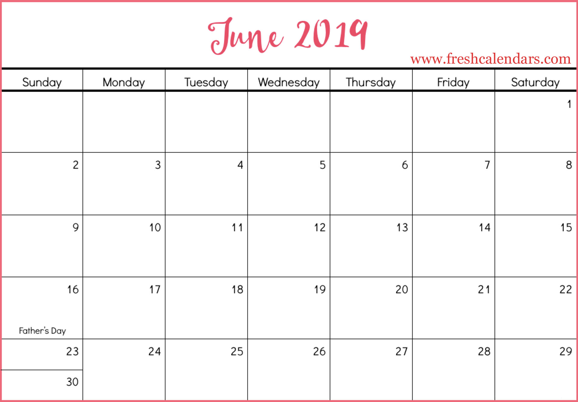 June 2019 Calendars Red Style