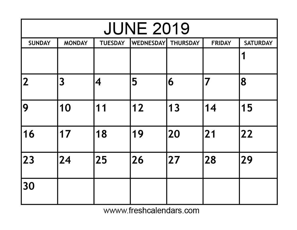June 2019 Calendar Printable - Fresh Calendars