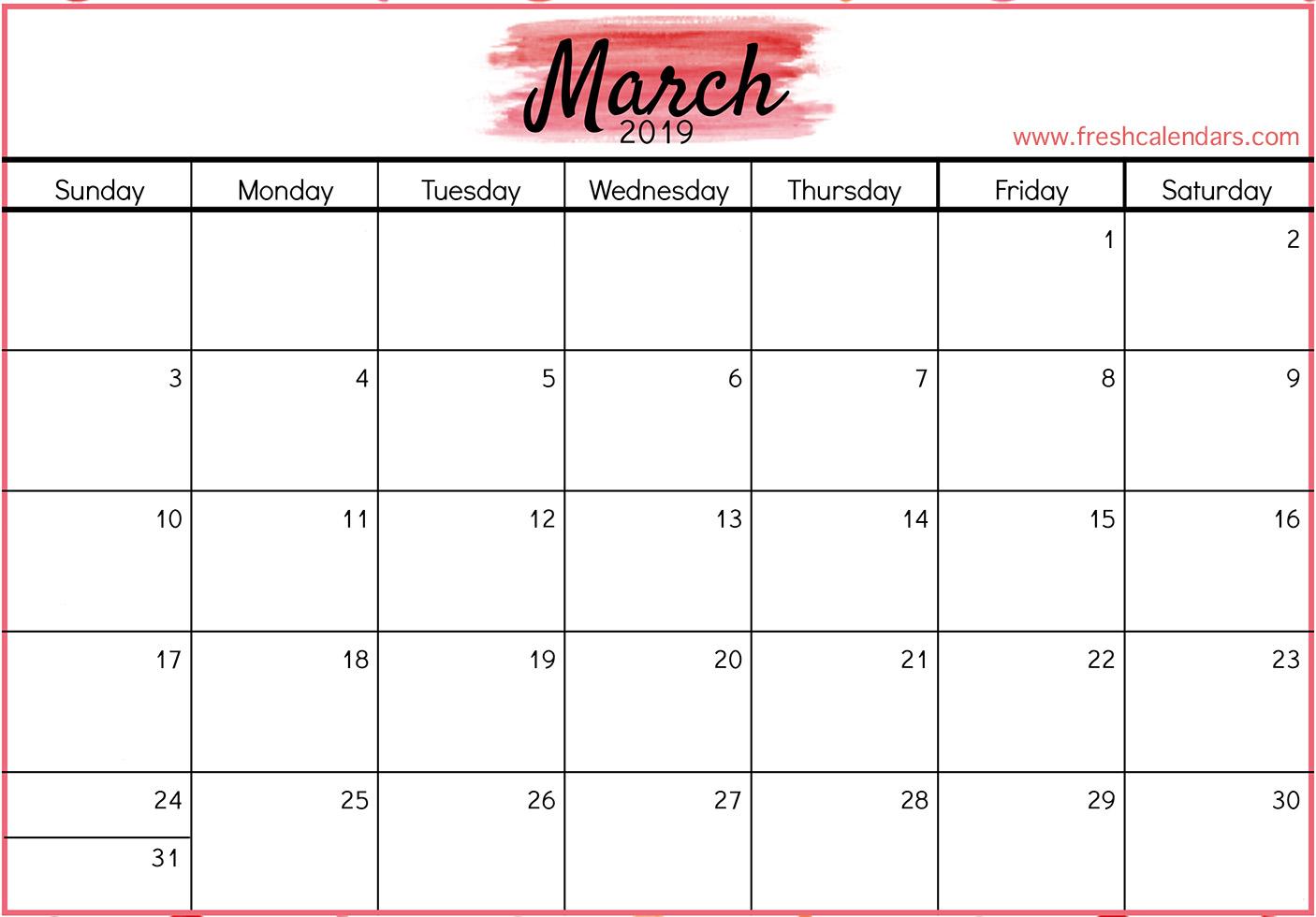 March 2019 Calendar Printable Templates
