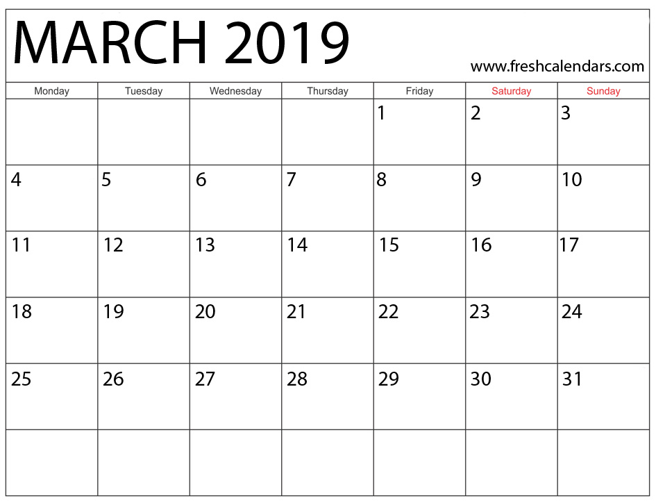 March 2019 Calendar Highlight Weekend
