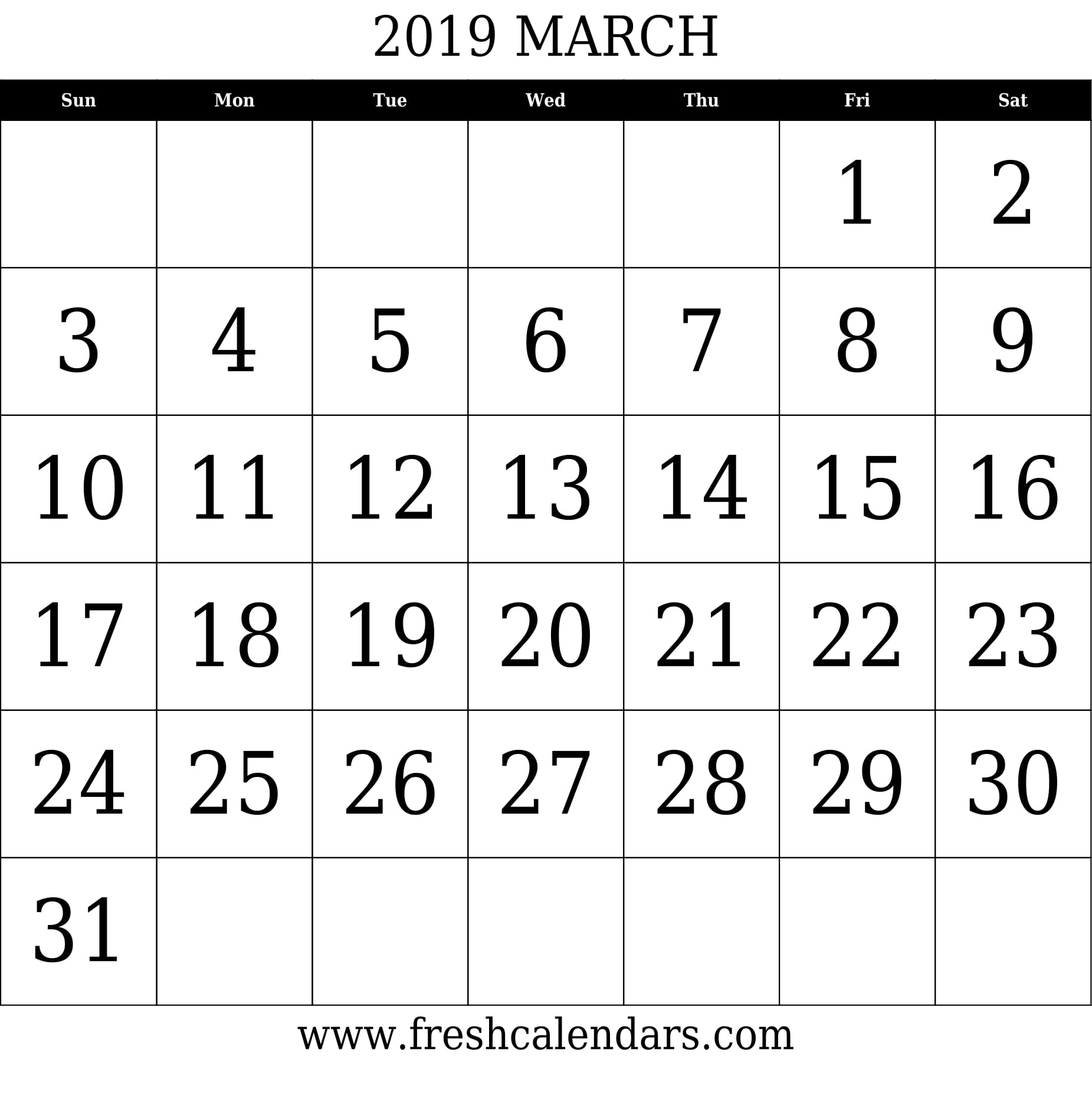 March 2019 Calendar With Large Dates