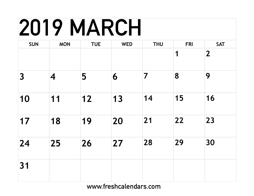 Printable Calendar March 2019.March 2019 Calendar Printable Fresh Calendars