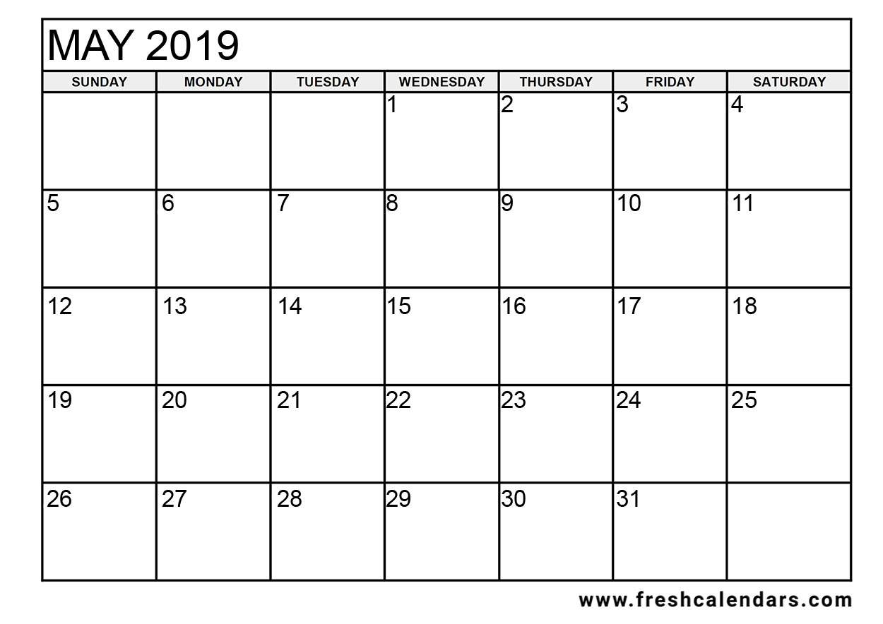 May 2019 Calendar Template Printable - Floss Papers