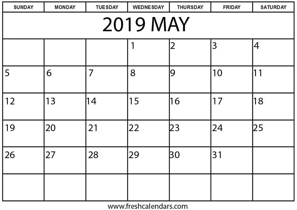 May 2019 Calendar Printable Fresh Calendars