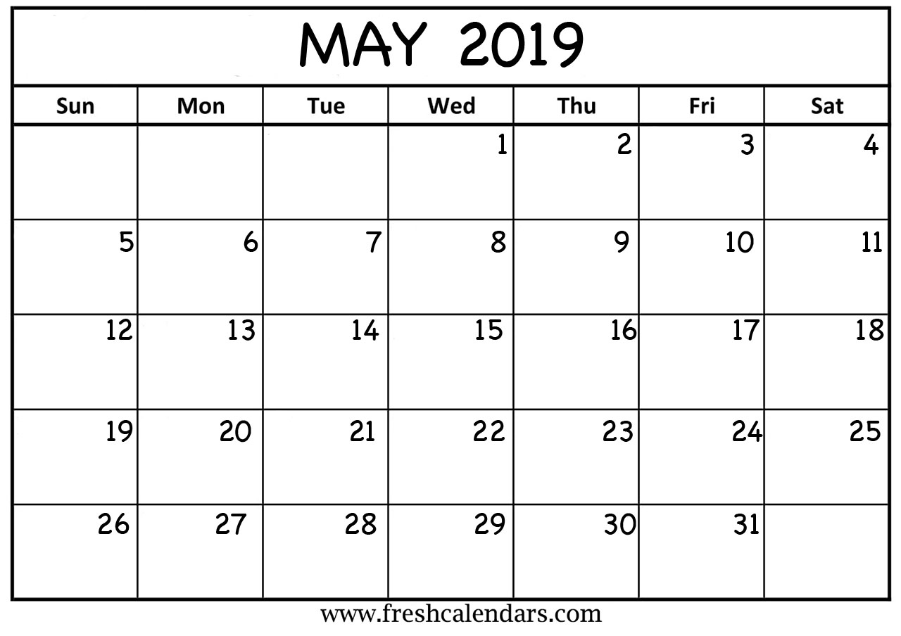 may 2019 calendar printable templates