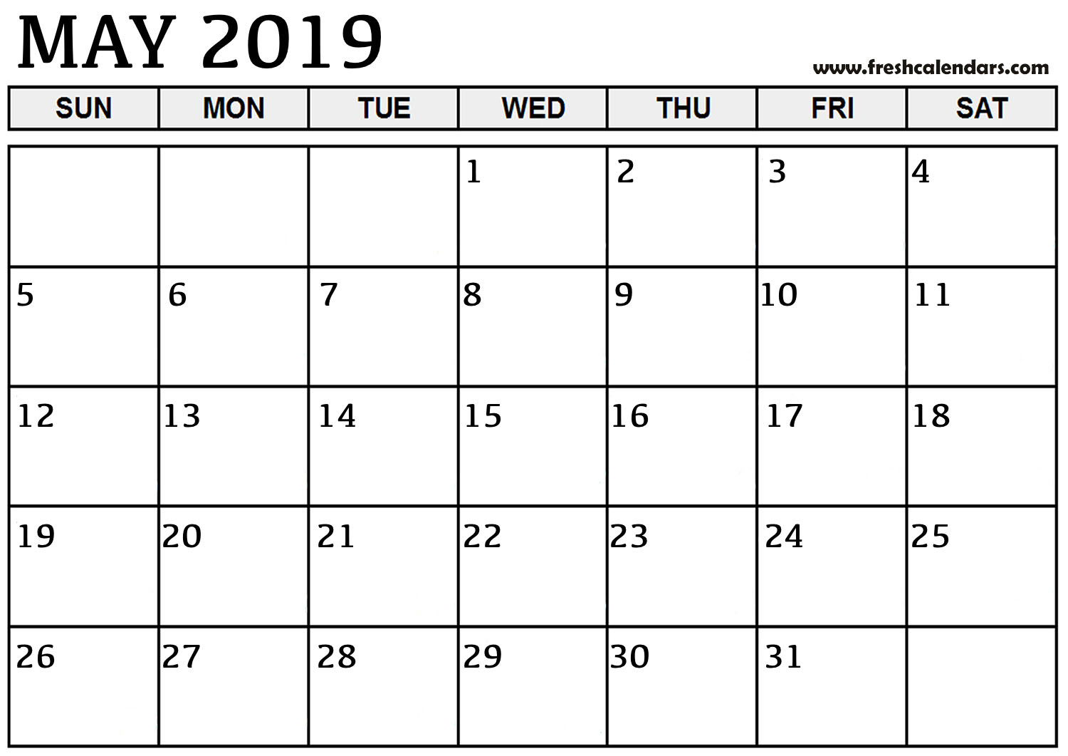 May 2019 Calendar Basic Template