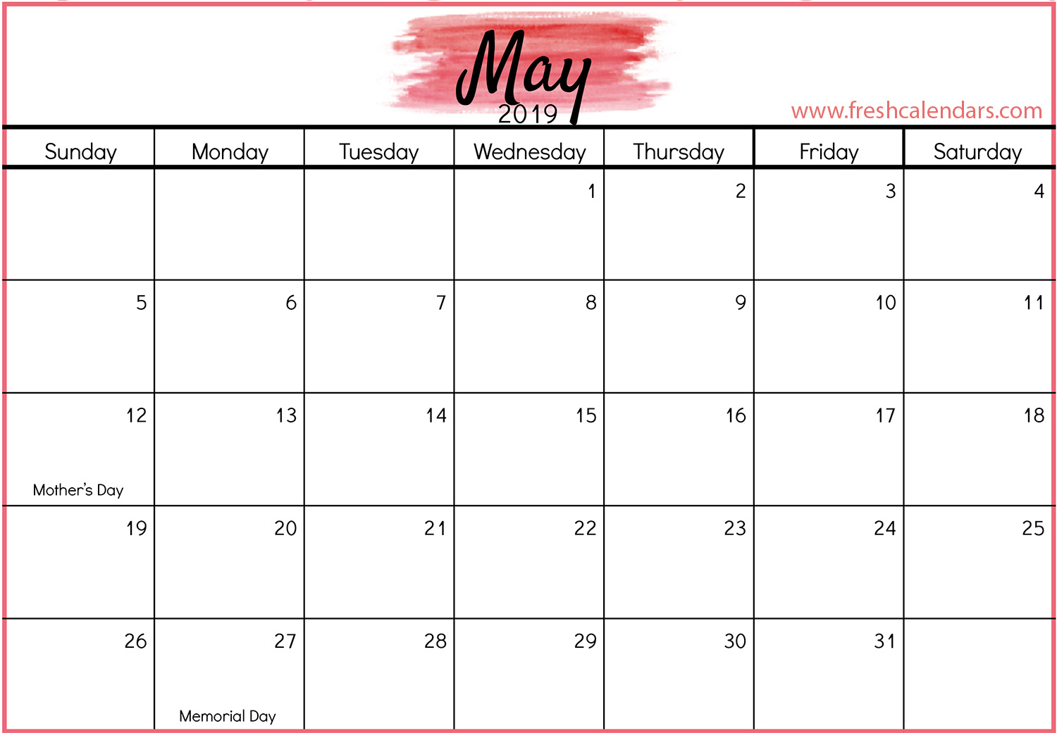 May 2019 Calendar Red Template