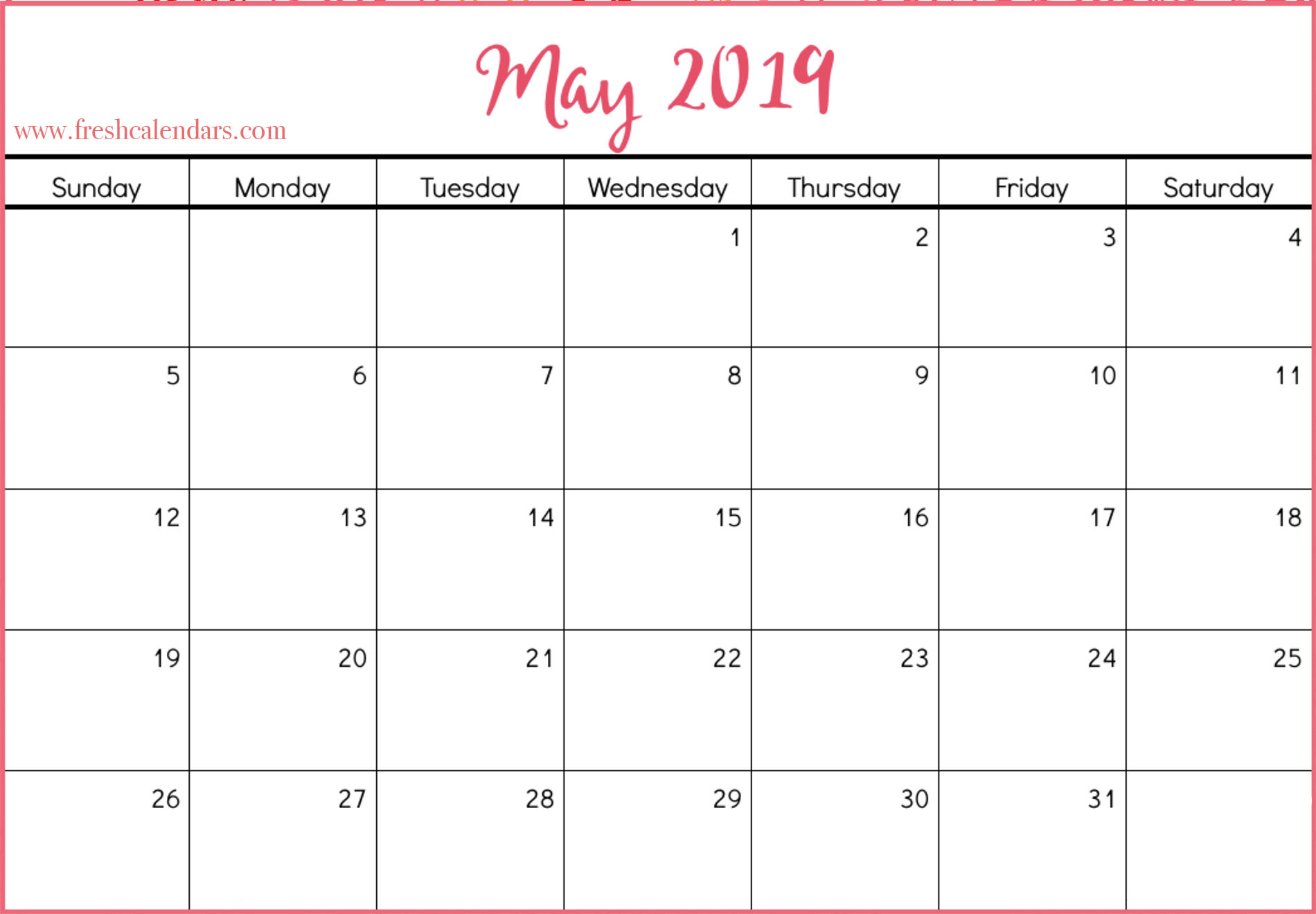 May 2019 Calendar Templates For Free