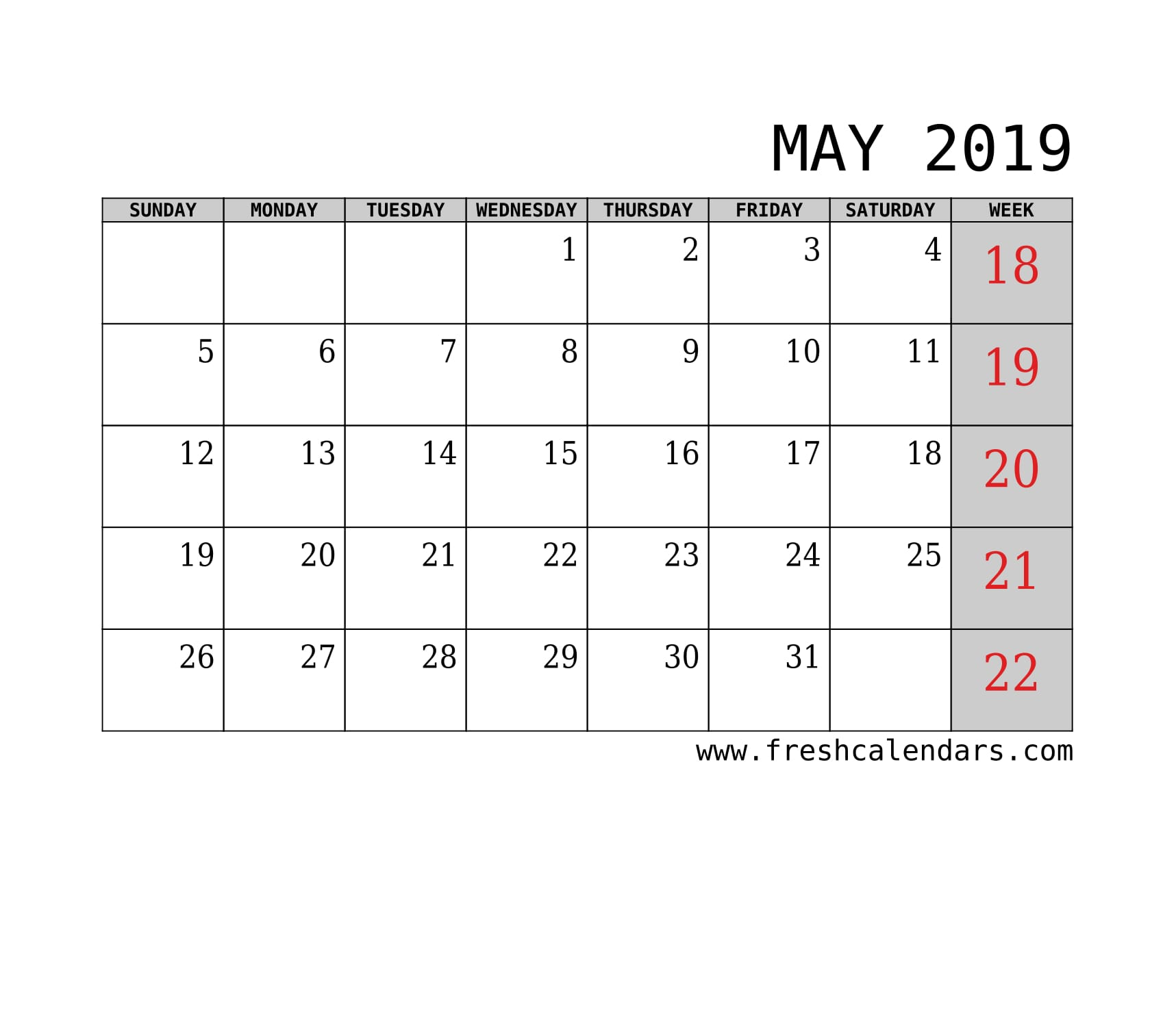 May 2019 Calendar With Week Template Printable