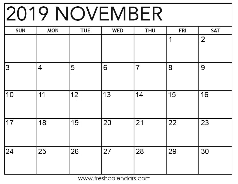 Printable November 2019 Calendar - Fresh Calendars