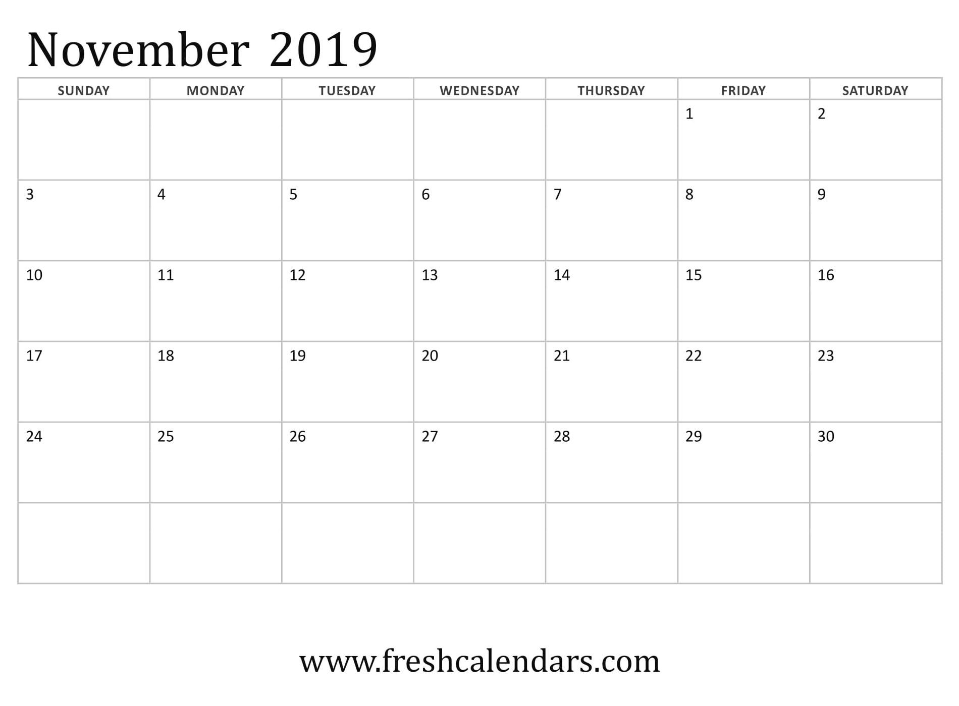 15  best november 2019 calendar printable templates