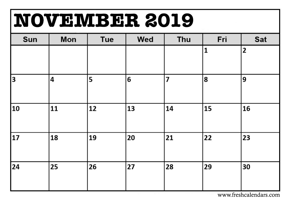 November 2019 Calendar PDF Excel Word Templates