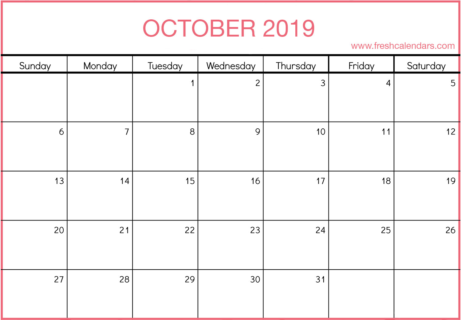 image relating to Printable Oct Calendar referred to as Oct 2019 Calendar Printable - Refreshing Calendars