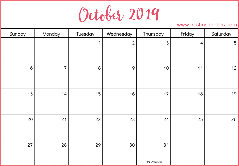 October Calendar 2019 Columbus Day