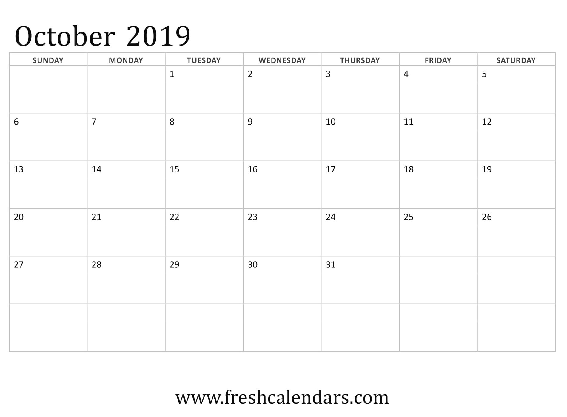 October 2019 Calendar Basic Template