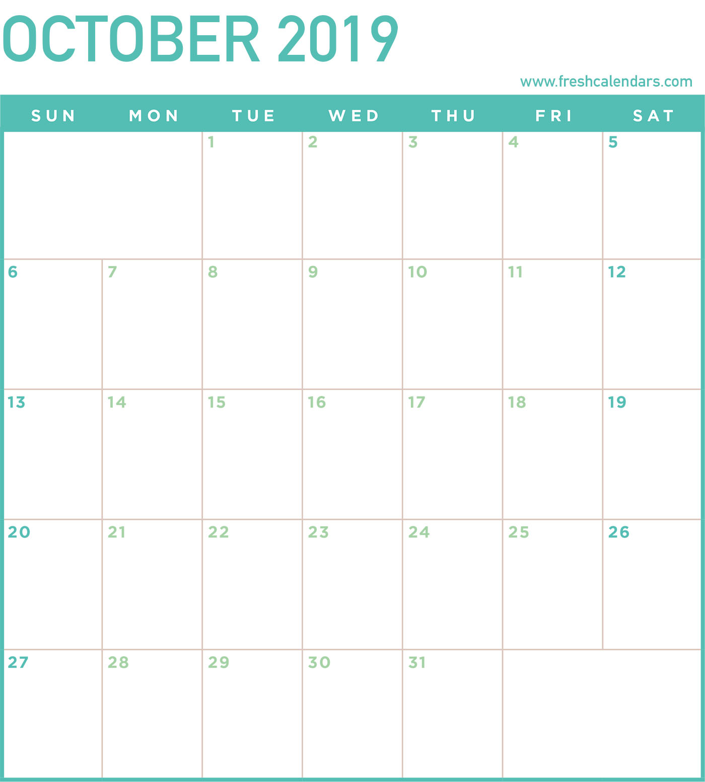 October 2019 Calendar Online PDF Word Excel