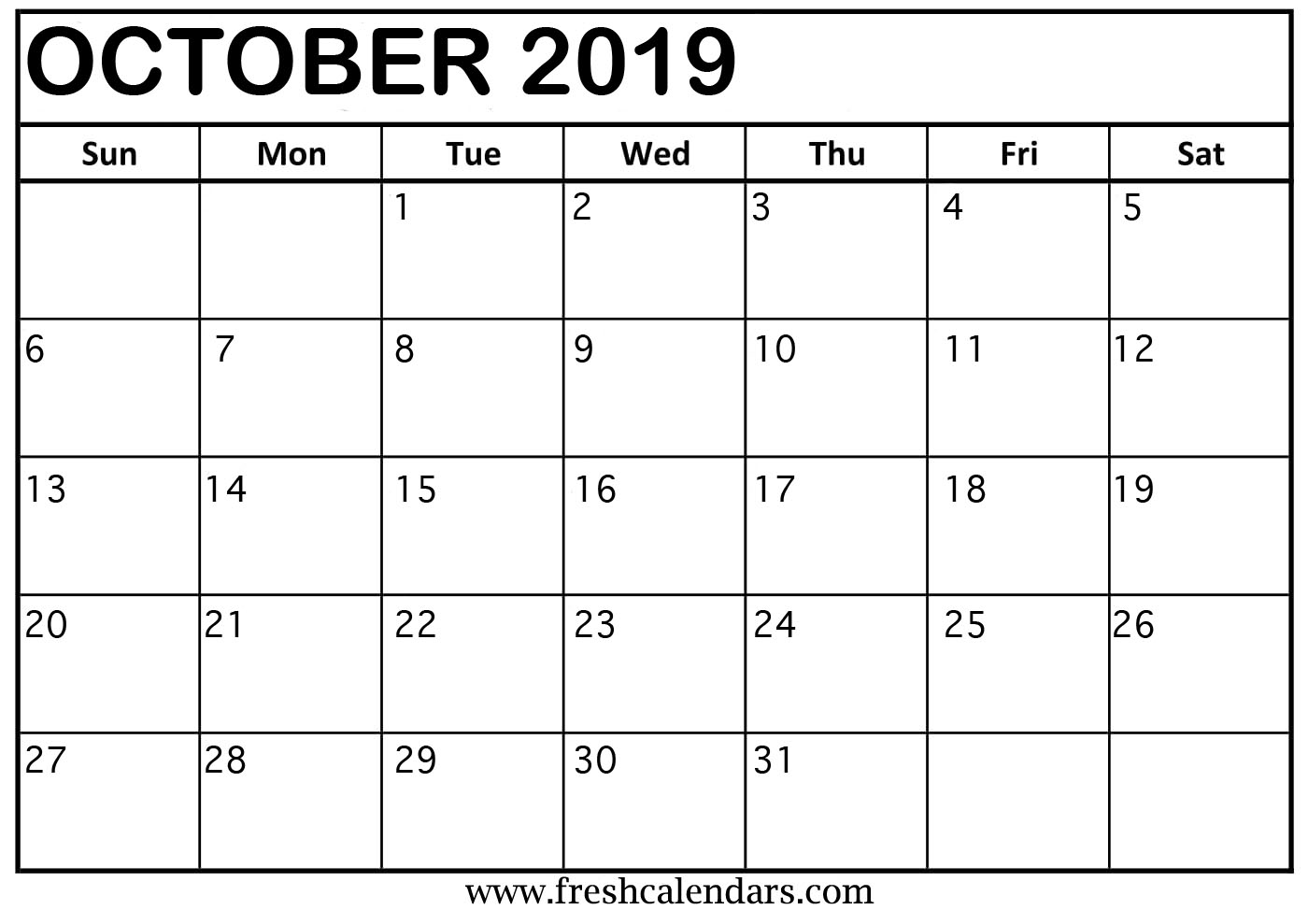 October 2019 Calendar Templates Online