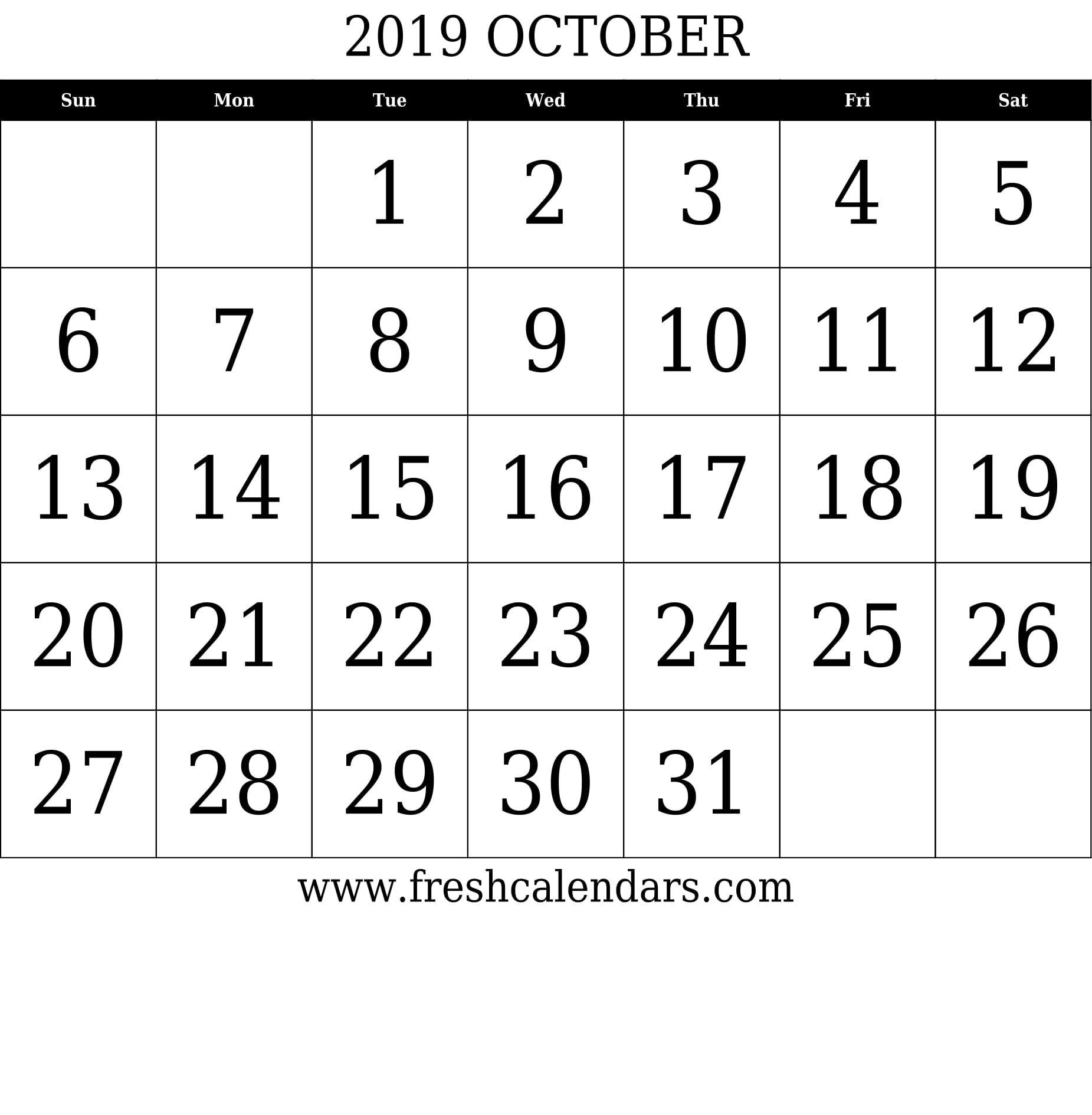 October 2019 Calendar With Large Dates