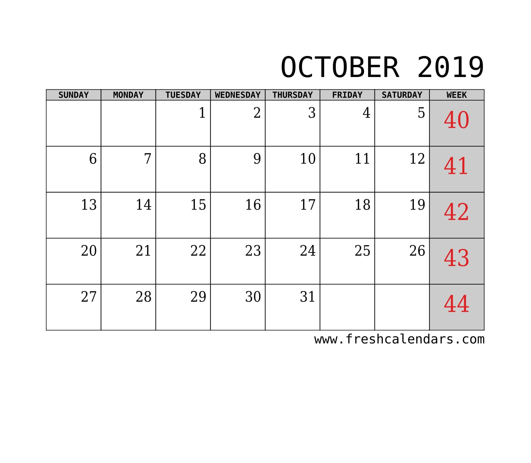 October 2019 Calendar With Week Template Printable