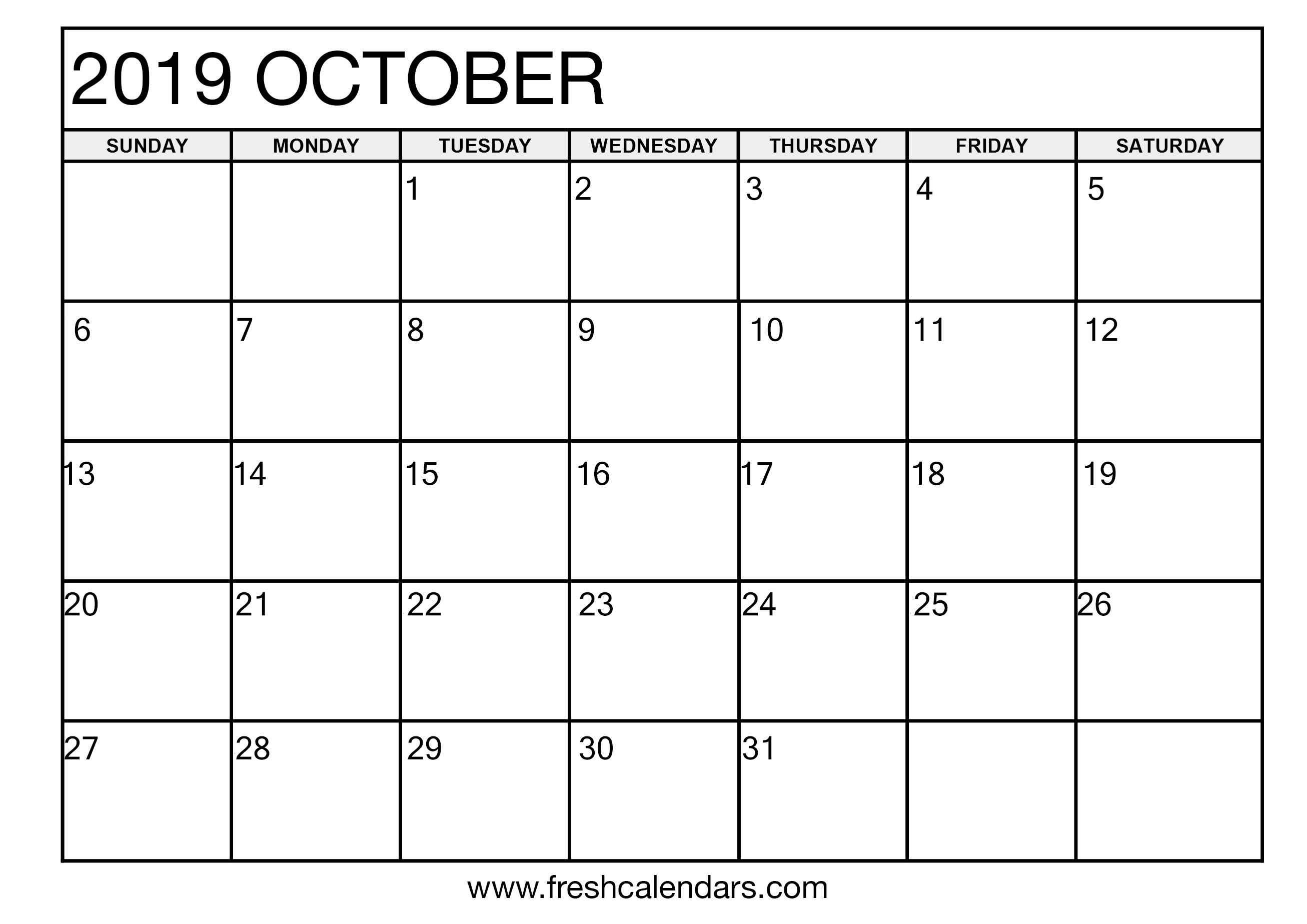 October 2019 Calendar Printable Templates